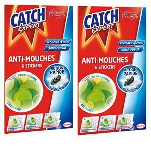 Catch Expert – Autocollants Anti–Mouches Décoratifs – 12 Stickers (Lot de 2 x 6 stickers) – Vert