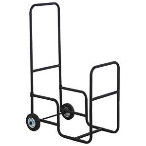 Chariot porte bûches – chariot à bois de chauffage en métal – 2 roues – panier roulant pour bûches à bois noir