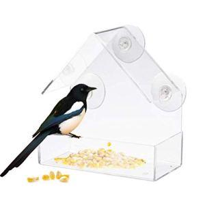 CLFYOU Feeders Creative fenêtre Oiseaux de Verre Acrylique Fenêtre Mangeoire en Verre Transparent fenêtre Oiseaux Alimentation