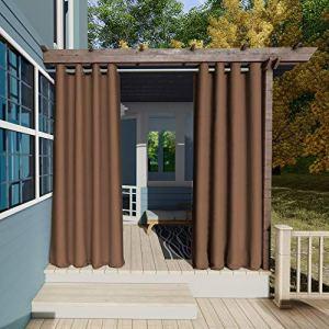 Clothink Rideaux d'extérieur occultants pour le jardin – 132 x 215 cm (l x H) – Marron – Opaque – Coupe-vent – Imperméable – Brise-vue – Protection contre les UV