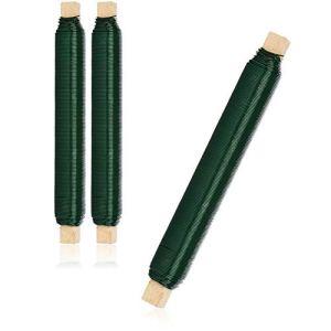 com-four® 3X Jeu de Fils à Enrouler Les Fleurs, Fil de Reliure Vert enroulé sur Un bâton en Bois, épaisseur 0,65 mm, 300 g