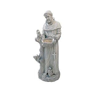 Design Toscano Saint Francis Nature Nourricière Statue de Jardin Mangeoire d'Oiseau, Grand 94 cm, polyrésine, pierre antique