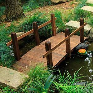 Duan Pont De Jardin en Bois, Pont Paysager en Bois Carbonisé, Petit Pont DéCoratif en Arc de 150 CM pour Cour IntéRieure Balcon ExtéRieur