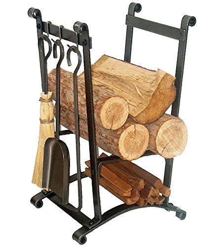 Enclume Porte-bûches Compact incurvé avec Outils de cheminée en Acier martelé