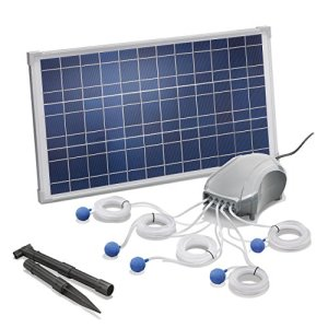 Esotec Pro 101076 Aérateur solaire pour étang 25 W 5 x 120 l/h Débit d'air 600 l/h