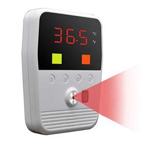 Fangteke Thermomètre Infrarouge sans Contact Thermomètre Mural avec Voyant Dalarme de Température Anormale Compteur de Température Infrarouge Corporel Outil de Température Numérique Mural