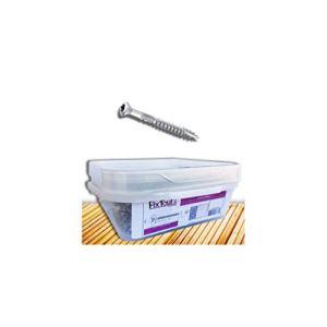 Fixtout – Seau de 1000 vis terrasse INOX A2, tête réduite crantée, TX25, D. 5 x 60 mm + embout offert – 9391564003 – FIXTOUT