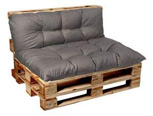 Garden factory Coussins pour Canape Euro Palette, Assise, Dossier, Set, extérieur intérieur Set (Assise 120×80+Dossier 120×40)
