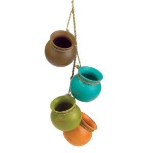 GDS 37 733 3 3/4 «de diam-tre. x 23 «H Dangling Pots Mini Pot en c-ramique Set ustensiles de cuisine suspendus