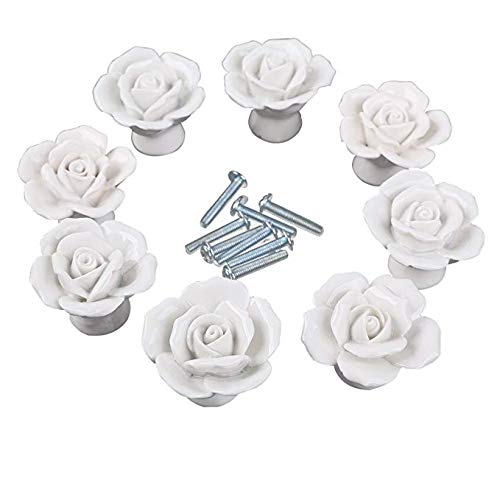GIVBRO Lot de 8 boutons de porte de cuisine à vis – Style moderne – Blanc