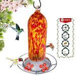 Grateful Nain–Hummingbird Feeder–Verre soufflé à la main–Fiery Bell Tower–20onces