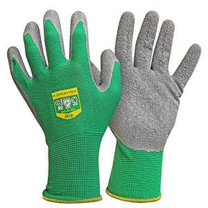 GRÜNTEK 5 Paires (M/8) Gants de Jardin et protection Travail en Fibre de Polyester avec revêtement en Latex