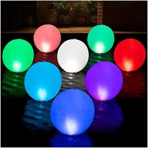 HAPIKAY Boules Lumineuses LED 2 Pack White, Pink, Red, Purple, Blue, Aqua, Green, Lime
