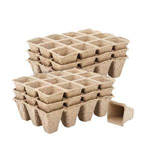 Housolution Pots Biodégradables, Pot de Semis avec 12 Compartiments (10 Pièces), Plateau pour Graines de Jardinage, Récipient de Germination – Kaki
