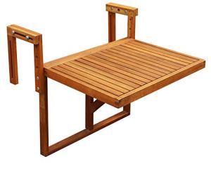 INTERBUILD Stockholm Table de Pont Pliante pour Balcon réglable FSC Bois d'acacia Couleur Teck doré