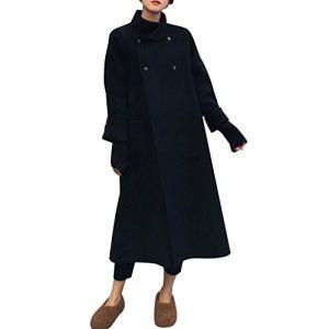 JXQ-N Femmes Mode Longue Trench Casual Lâche Manches Longues Cardigan Manteau Lapel Coupe-Vent