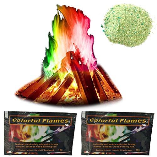 Lintat Lot de 2 pots de poudre de couleur pour feu de camp, feu de camp, feu de camp