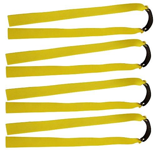 Lot de 10 bandes élastiques plates Mangobuy – En caoutchouc – Fuselées – Remplacement pour lance-pierre d'extérieur en bois – Pour chasse -, jaune