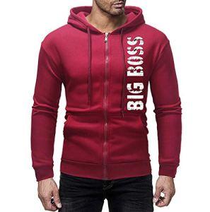 manadlian Sweatshirt Homme Capuche Manches Longues Sweat Capuche Manteau Casual Tops Jacket Automne Hiver Jacket Manche Longue Sweats à Capuche Pullover