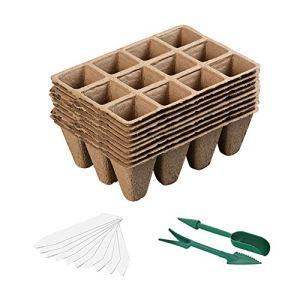 Mengxin 10 Pcs Pot Tourbe pour Semis Biodégradables avec 100 Pcs Etiquette Plante en Plastique Pot Plantation Semis Godets Repiquage pour Plantes Fleur Légumes (Paquet de 10)