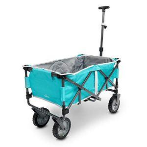 Navaris Chariot Pliable à Tirer – Charrette de Transport à Main avec roulettes Freins – Chariot de Plage Jardin Camping Festival – Capacité 50 kg