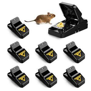 O-Kinee Piège à Souris, 8 PCS Efficace Piège à Rats pour Intérieur Extérieur Cuisine Jardin Grenier, Puissant, Sensible Contrôle, Réutilisable
