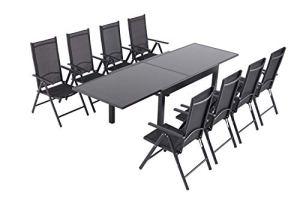 OMNIPRO Table de Jardin Extensible Aluminium et Verre – 135/270x90x75cm – 8 Fauteuils Empilables Textilène pour Terrasse&Jardin,Couleur Noir