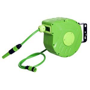 Outsunny Dévidoir Mural Enrouleur Automatique pivotant 180° Tuyau 10 + 1 m avec Lance arrosage Support Mural intégré Vert