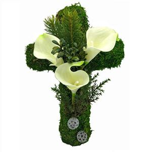 Radami Décoration funéraire en forme de cœur en mousse, cœur funéraire ou ange en forme de cœur avec roses (croix de 30 cm de calla-blanc)