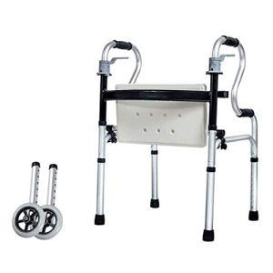Récupération Pliante Marche Cadre en Aluminium léger Bathing Zimmer Walker à roulettes Plateau Hauteur Ajustable Désactivé Walker