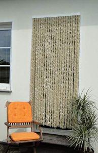 Rideau de porte avec bonne protection contre les insectes en tissu chenille Beige 115x 230mm