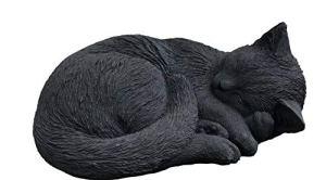 Statuette en pierre d'un chat endormi en boule, résistante au gel jusqu'à -30°C, moulage en pierre massive