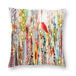 SUN DANCE Housse de coussin décorative rouge motif oiseaux cardinaux pour canapé, banc 45,7 x 45,7 cm