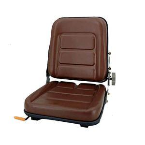 TABODD Siège de chariot élévateur en PVC avec dossier réglable à 140°, siège de tracteur pour véhicules agricoles, marron