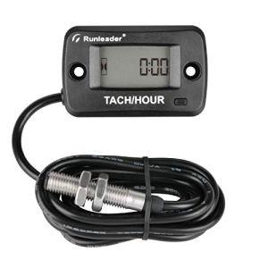 Tachymètre de compteur horaire à arbre rotatif Runleader, ramassage magnétique RPM, rappel d'entretien, arrêt de l'affichage pour générateur de tondeuse à gazon Moteur de moteur diesel/gaz marin