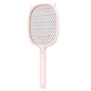 Tapette à mouches électrique raquette electrique insectes Tapette à moustiques rechargeable, surface de grande maille pratique, tapette à moustiques électrique anti-insectes-Rose