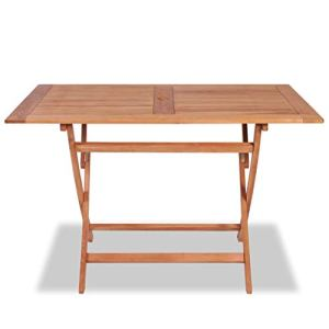 Tidyard Table Pliable/Table d'Extérieur/Table Pliable de Jardin 120x70x75 cm Bois de Teck Solide