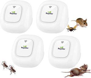 Ultrason souris et rat,Répulsif Ultrason Anti-Rongeurs Insectes,Anti Mouche,Electrique Appareil Souris Interieur,Moustique,Cafard,Fourmi,Araignée,100% Inoffensif (4 Paquets)
