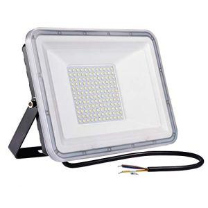 100W Projecteur LED Extérieur, IP67 étanche Spot LED Extérieur, Super Lumineux 8000LM Blanc Froid 6500K éclairage de Sécurité pour Jardin, Cour, Garage, Entrée, Terrasse