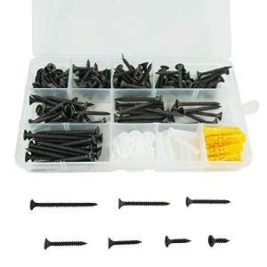 190 Kits de vis à Bois Auto-perceuses à Filetage Grossier M3.5, Vis à tôle à tête cylindrique et Passe-Partout – 3.5 mm x (16/20/25/30 35/40/50 mm)