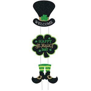 3 Pcs Signes de Jardin Saint-Patrick avec Pieus, Signes de Trèfle Saint-Patrick Décorations de Pelouse Extérieure Trèfle en Fer à Cheval de Lutin Irlandais avec Signe Saint-Patrick Heureux