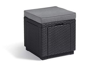ALLIBERT Cube w/Cushion Tabouret, Graphite/Gris