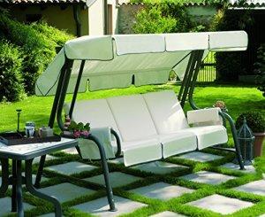 ARREDinItaly Balancelle 4 places avec structure en métal et coussins fantaisie 85 – Structure anthracite – 100 % fabriquée en Italie