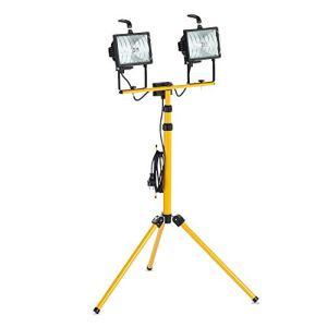 as – Schwabe 46795 Projecteur Halogène Chantier double avec trépied jaune – 2x 400w IP44