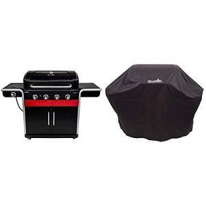 Barbecue hybride Char-Broil Gas2Coal 440 – Barbecue à gaz et charbon à 4brûleurs, finition noire. & 140 766 – Housse pour grill à 3-4 brûleurs, noir.
