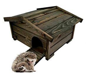BLIŹNIAKI Hérisson en bois 37 x 47 x 25 cm Toit amovible Fond en bois sûr pour hérisson Maison hérisson Eco Hôtel en bois pour le jardin HDJ3 CZ