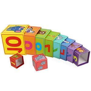 Boîte en papier carrée 10 couches empilables pour reconnaître les chiffres d'animaux et apprendre à s'amuser avec les enfants
