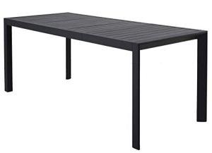 Chicreat – Table de Jardin à Rallonge en Aluminium, 127 à 180x77x71.5cm, Charbon