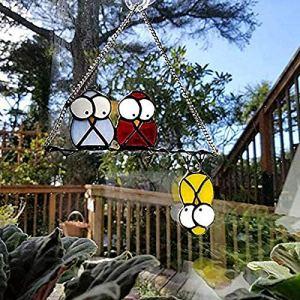 DAMEILI EspèCes d'oiseaux Teinté Pendentif FenêTre Suspendus DéCors Acryliques Suspendus, Tentures De FenêTre Vitrail Personnalisé Hiboux FenêTre Tentures DéCoration A