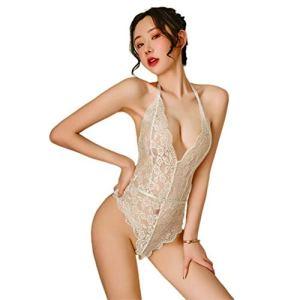 Dan&Dre (ZH) Lingerie Sexy Femmes Sexy Dentelle Transparente Licou Moulant Profond V Une pièce Blanc